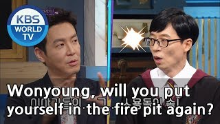 """Jaeseok""""Wonyoung, will you put  yourself in the fire pit again?""""[Happy Together/2019.03.28]"""