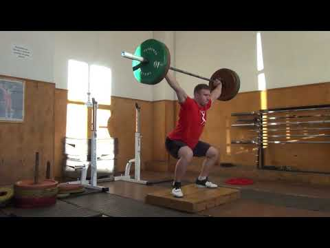 Рывок в полуприсед с ямы ENG SUB/  Deficit Power Snatch/into a Half Squat