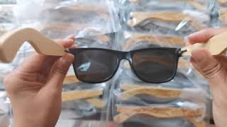 bamboo sunglasses with full logo