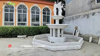 Large Tiered White Marble Fountain With Angel Statues From Factory