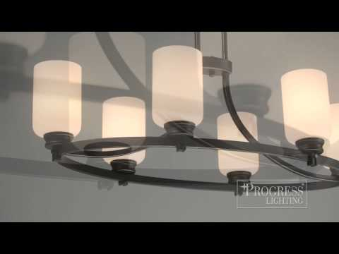 Video for Orbitz Antique Bronze Five-Light Chandelier with Opal Etched Glass