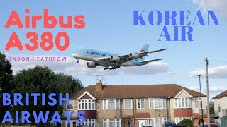 Korean Air Airbus A380 Flying Past The Houses British Airways Departs Into Sunset 4K Video
