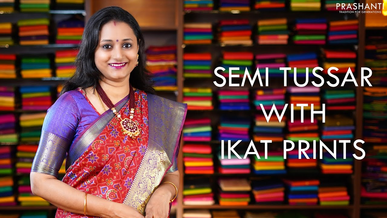 """<p style=""""color: red"""">Video : </p>Semi Tussar with Ikat Prints 2020-12-01"""