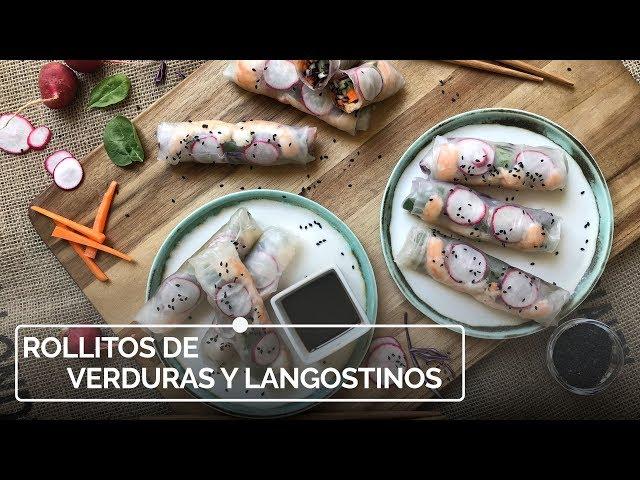 Rollitos de verduras y langostinos
