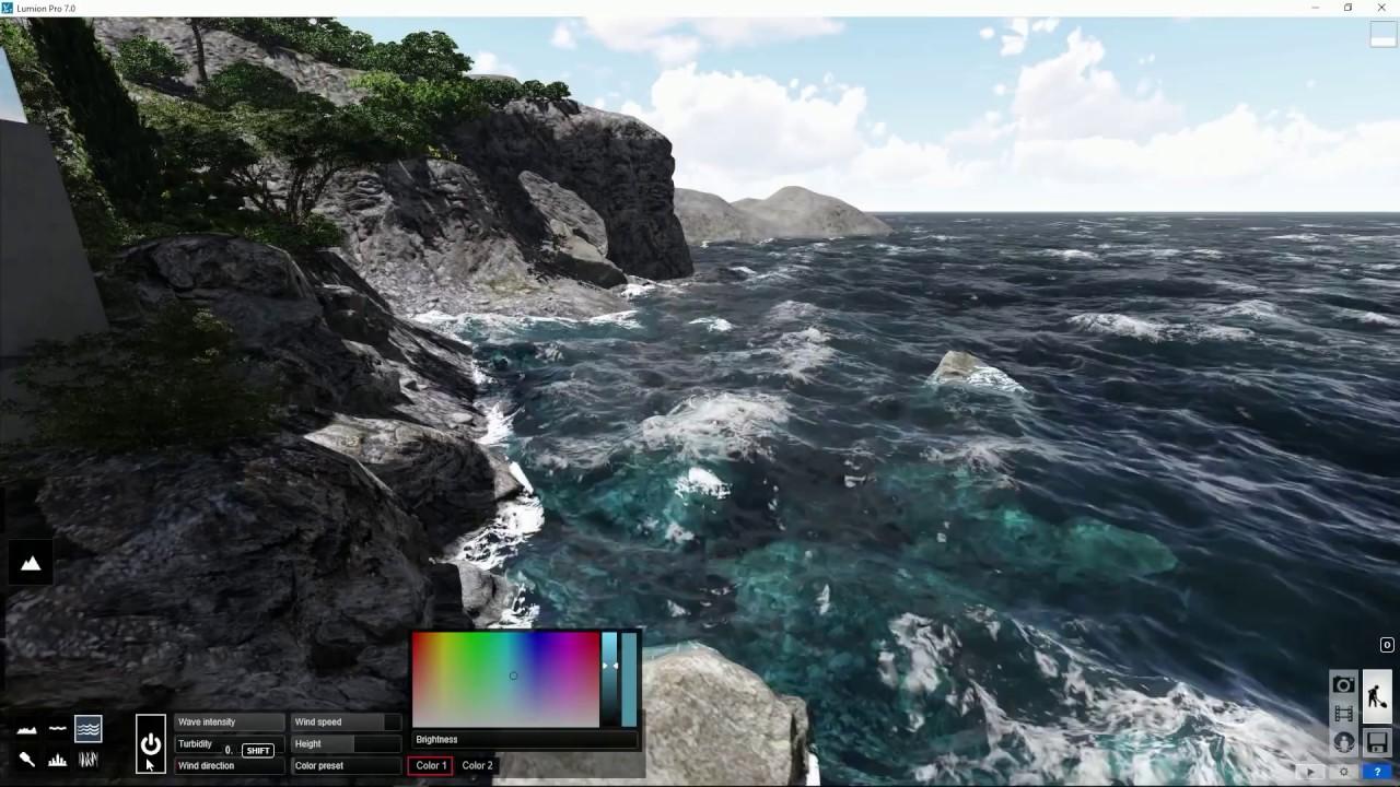 編集モード:海を追加(Lumion7 series)