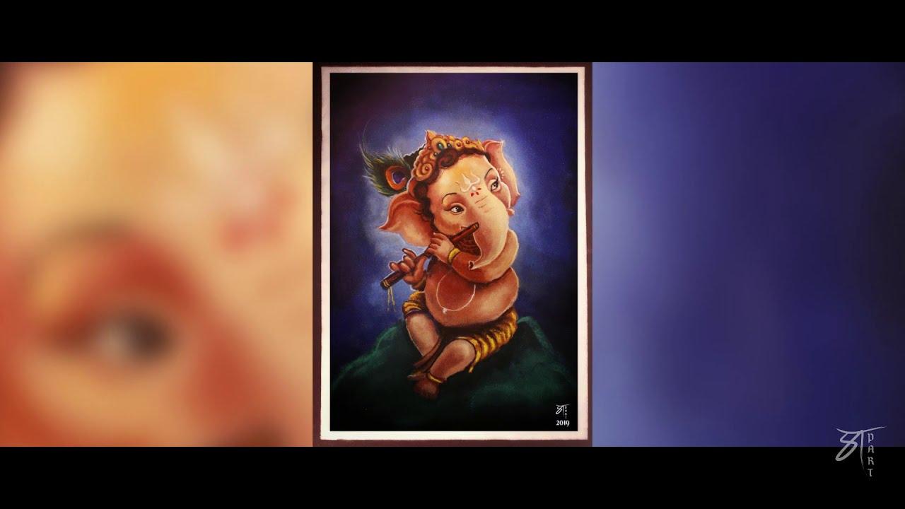 portrait rangoli design of lord ganesh by prathmesh