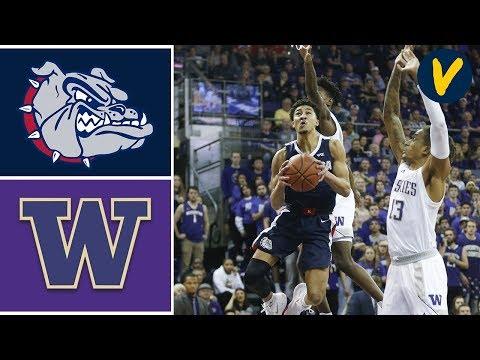 2019 College Basketball #9 Gonzaga vs #22 Washington Highlights