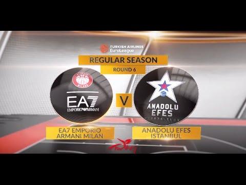 EuroLeague Highlights RS Round 6: EA7 Emporio Armani Milan 105-92 Anadolu Efes Istanbul