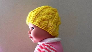 How To Knit A Cable Hat For A Baby, Lilu's Handmade Corner Video # 120