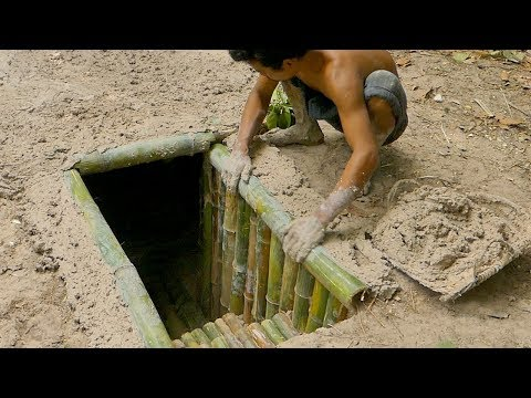 Building The Most Secret Underground Bamboo House By Ancient Skill