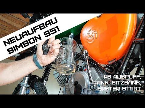 Neuaufbau Simson S51 Teil 6 - erster Start Auspuff Tank Sitzbank