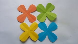 How to : Cutting a 4 Petal Origami Paper flower Easy Way !!