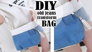DIY WONDERFUL JEANS BAG TUTORIAL // Cute Denim Tote Purse Bag Out Of Old Jeans Pants