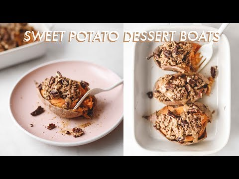 Sweet Potato Dessert Boats 🍠 | vegan + gf + healthy