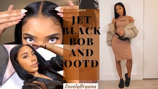 GRWM| Jet Black Bob And OOTD | MyFirstWig X LovelyBryana