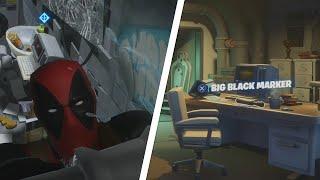 Find Deadpools Big Black Marker Location - Fortnite Week 6 Deadpool Challenge