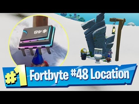 Fortnite Fortbyte #48 Location - Accessible By Using Vox Pickaxe To Smash Gnome Mountain Top Throne