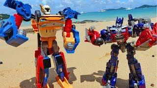 #Трансформеры Битва РОБОТОВ! Тобот Тритан vs Трансформера Оптимуса Прайма Мультик для детей Игрушки