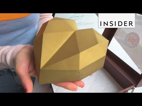 Giant Golden Chocolate Heart Full of Nutella