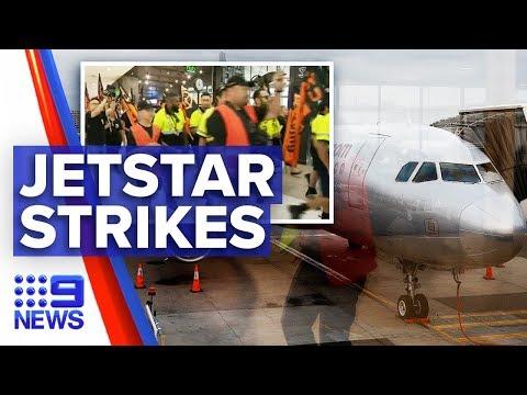 Flights cancelled as Jetstar workers strike | Nine News Australia