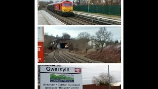 preview picture of video 'Half an Hour at (91) - Gwersyllt Station 19.2.2015 - Wrexham - Class 60 150'
