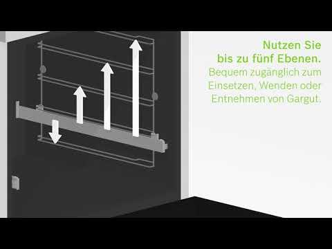 Backöfen und Herde der Serie 6 von Bosch: Die ebenenunabhängigen Teleskopauszüge.