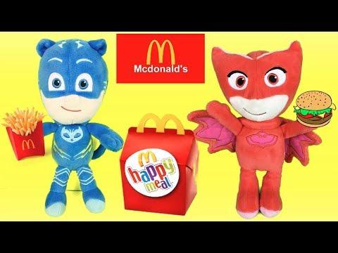 Pjmasks en español: fiesta en McDonalds con juguetes sorpresa de happy meal.Videos heroes en pijamas
