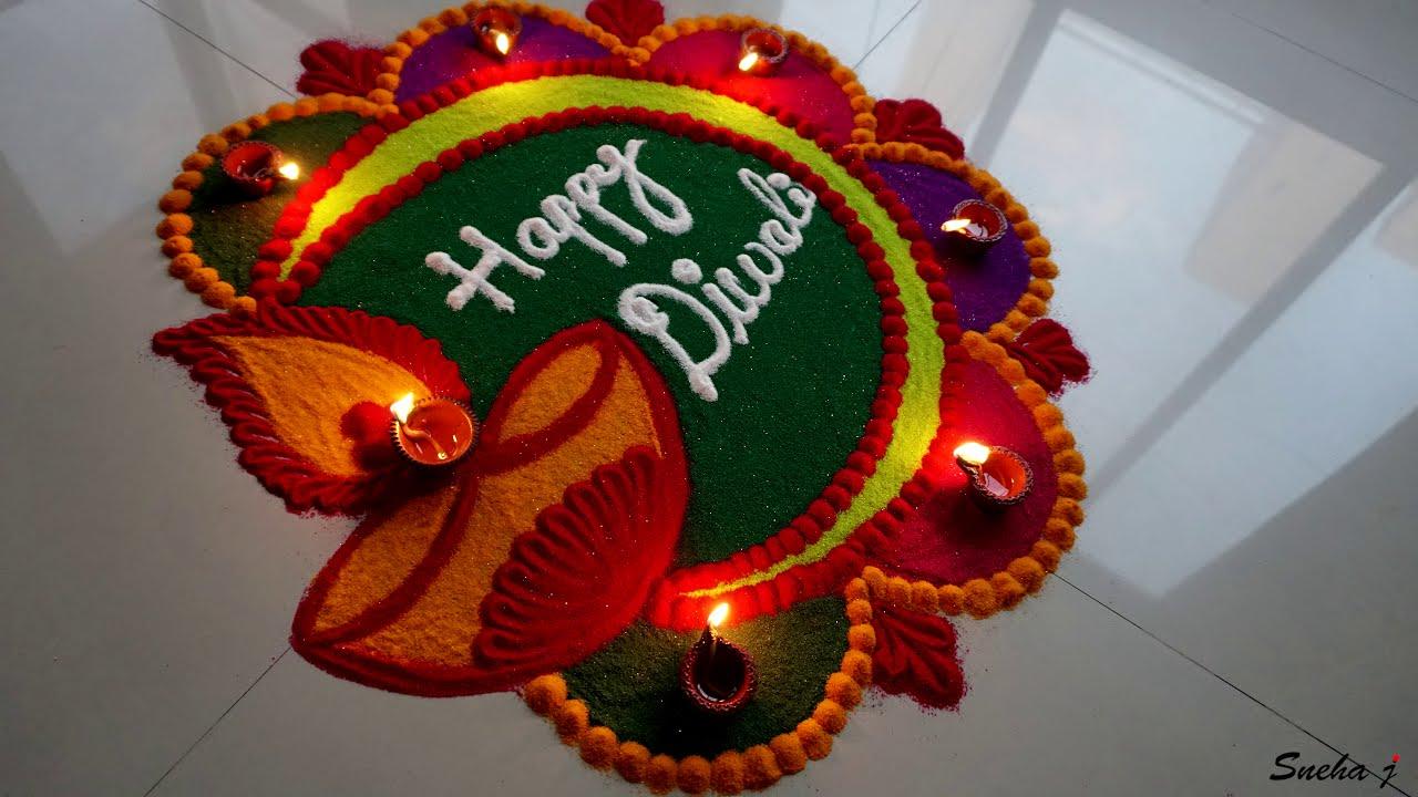 diwali rangoli design with diyas by sneha j