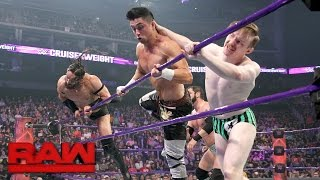 A-Double teams with Gentleman Jack Gallagher as he takes the fight to WWE Cruiserweight Champion Neville and his new ally, TJ Perkins.#205LiveMore ACTION on WWE NETWORK : http://wwenetwork.comSubscribe to WWE on YouTube: http://bit.ly/1i64OdTMust-See WWE videos on YouTube: https://goo.gl/QmhBofVisit WWE.com: http://goo.gl/akf0J4