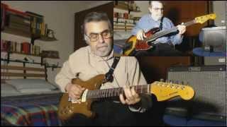 Jigsaw Puzzle Blues-2 Alone-91 Custom solidbody guitar plugged-78 Fender Jazz Bass Fretless plugged