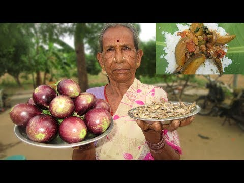 GRANDMA DRY FISH BRINJAL RECIPE Cooking in My Village | VILLAGE FOOD
