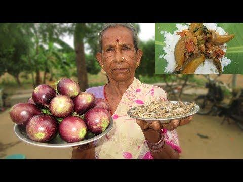 GRANDMA DRY FISH BRINJAL RECIPE Cooking in My Village | VILLAGE FOOD