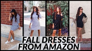 FALL OUTFIT IDEAS | 5 FALL DRESSES FROM AMAZON