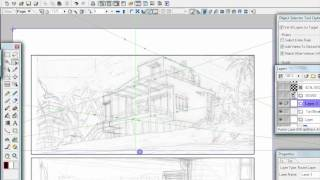 Perspective ruler in Manga Studio 4 EX