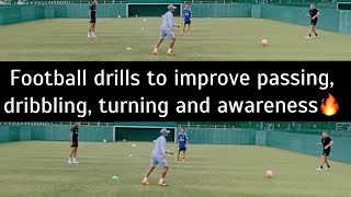 Football Training Drill To Improve Your Passing Dribbling Turning And Awareness 2020
