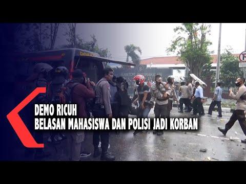 demo ricuh belasan mahasiswa dan polisi jadi korban