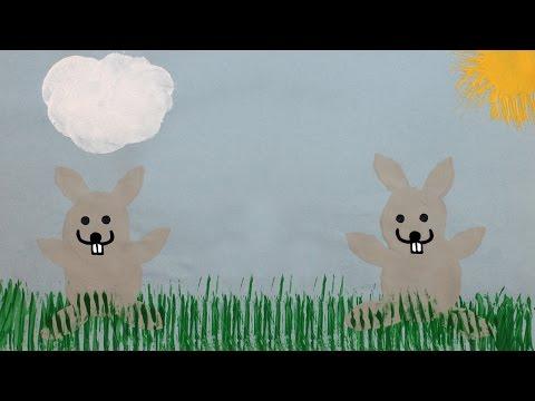 Peindre des lapins de Pâques avec une pomme de terre