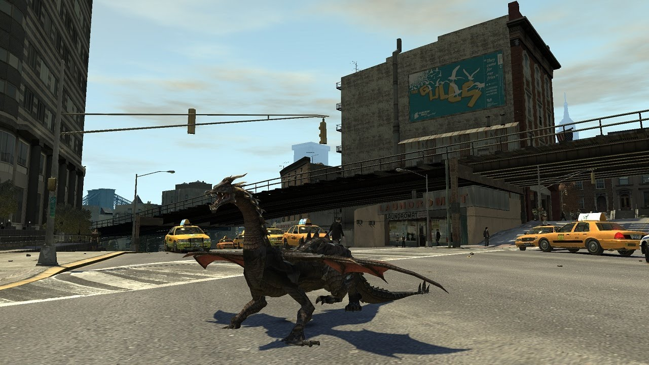 Grand Theft Auto V Screens Are Nice, But How About A Skyrim Dragon In GTA IV?