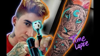 Tattoo Time Lapse - How To Tattoo Lions Family