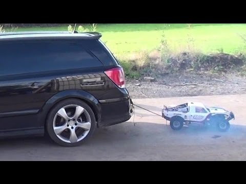 RC Losi Five-T Car vs 888 Astra van Tug of War with Channel Highlights