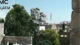 preview picture of video 'القصف بالطيران الحربي على مدينة الباب 20 9 2012'