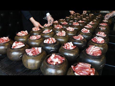 The secret of amazing taste?! Pork belly with soybean paste in a breathing Jar / Korean street food