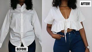 DIY V-Neck Ruffle Hem Top | Mens Shirt Refashion