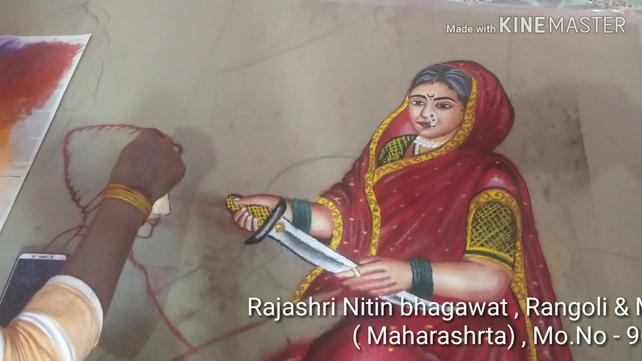 portrait rangoli design raja matha by rajshri bhagwat