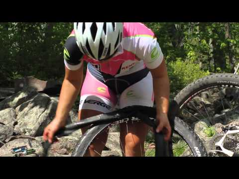 Trail-side Flat Change on a Tubeless Mountain Bike Wheel - Stan's NoTubes & Sarah Kaufman