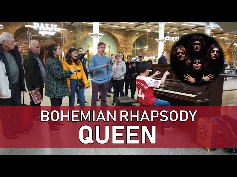 Crowd Sings Queen Bohemian Rhapsody Piano at Train Station Cole Lam