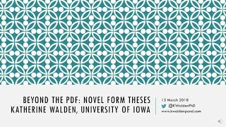 K. Walden--Abbreviated Remarks--Beyond the PDF conference