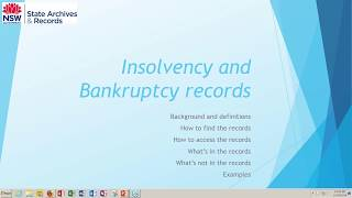 Webinar: Bankruptcy and Insolvency records in NSW