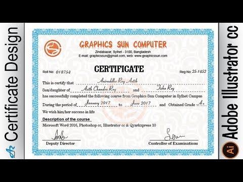 Creating Professional Computer Certificate Design in Illustrator cc ...