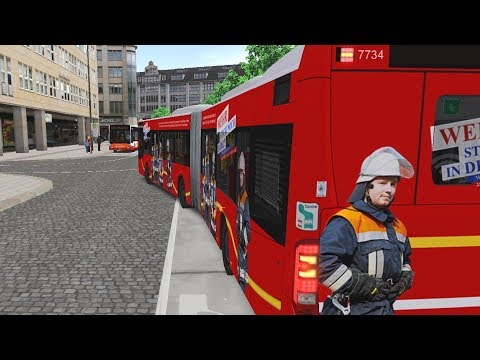 Omsi 2 - hamburg buses 2018 articulated bus (firefighter skin) 4k